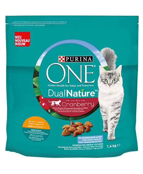 PURINA ONE® DualNature® pour chats adultes. Riche en poulet
