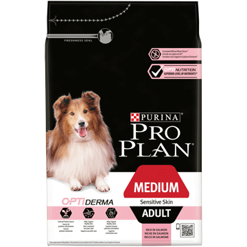 PURINA® PRO PLAN® MEDIUM ADULT SENSITIVE SKIN AVEC OPTIDERMA™ RICHE EN SAUMON