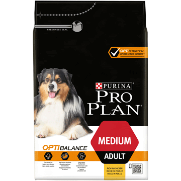 ​PURINA® PRO PLAN® Medium Adult mit OPTIBALANCE® Reich an Huhn.