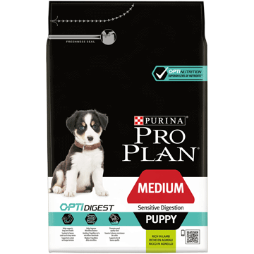 ​​CROQUETTES POUR CHIOT PURINA® PRO PLAN® MEDIUM PUPPY SENSITIVE DIGESTION avec OPTIDIGEST™ - Riche en Agneau