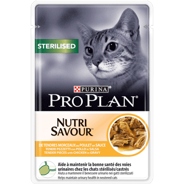 PURINA PRO PLAN® NUTRISAVOUR® STERILISED in Soße mit Huhn
